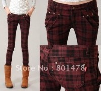 2012-autumn-plus-size-women-casual-trousers-harem-pants-skinny-pants-red-plaid-pants-6151