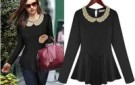 celebrity-style-beading-collar-long-sleeve-fashion-black-top-for-women-with-high-qualtiy
