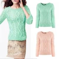 free-shipping-2013-hot-sale-women-long-sleeve-mint-pink-pullover-crochet-hollow-knitwear-o-neck