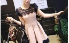 free-shipping-2013-new-cute-ball-gown-lace-patchwork-high-street-dress-pink-fashion-dress-short