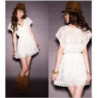 free-shipping-charm-deep-v-neck-women-sheer-lace-shrink-waist-slim-mini-casual-pleated-dresses