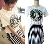 free-shipping-fashion-casual-mickey-mouse-cartoon-print-and-striped-cotton-dress-for-women-2013-summer