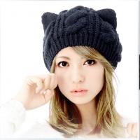 free-shipping-fashion-korean-women-lady-devil-horns-cat-ear-crochet-braided-knit-ski-beanie-wool
