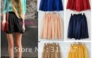 free-shipping-green-blue-red-pink-yellow-navy-big-size-fashion-skirts-plain-chiffon-high-waist