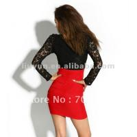 free-shipping-summer-new-women-full-sleeve-lace-stitching-wrap-chest-high-waist-sexy-dress-k295