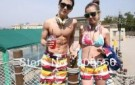 free-shipping-the-price-of-two-fire-colored-stripes-couple-beach-pants-women-men-shorts-of