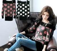 korea-fashion-women-s-girls-casual-dot-pattern-long-sleeve-shirt-blouse-tops-2-colors-free
