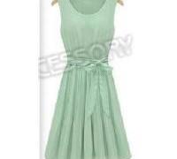 new-arrival-1-piece-lot-fashion-women-s-dresses-light-green-pleated-sleeveless-dress-chiffon-dress