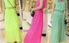octopussy-2013-spring-and-summer-pleated-neon-color-pearl-chiffon-one-piece-dress-with-belt