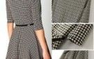 plaid-check-women-s-crew-neck-three-quarter-sleeve-dress-with-belt-kk-3861890-freeshipping