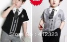retail-free-shipping-children-baby-boys-gentleman-summer-short-suits-set-shirt-tshirt-pants-tie-cheapest