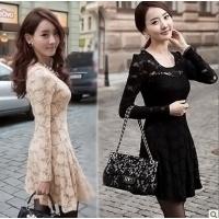 wholesale-fashion-sweet-black-beige-lace-up-long-sleeve-thin-spring-autumn-one-piece-korean-dress