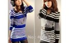 women-elegant-v-neck-stripes-blocked-slim-fit-long-sweater-2-colors-black-blue-free-shipping